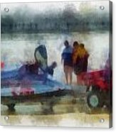 River Speed Boat Photo Art Acrylic Print