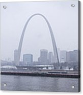 River Traffic In Front Of The Arch In The Snow Acrylic Print