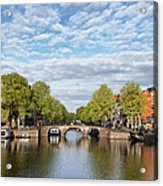 River View Of Amsterdam In The Netherlands Acrylic Print