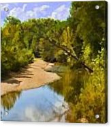 River View With Reflections - Digital Paint Acrylic Print
