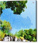 River Waterfall Painting Acrylic Print