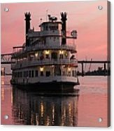 Riverboat At Sunset Acrylic Print