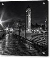 Riverfront Park Clocktower Seahawks Black And White Acrylic Print