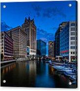 Riverside Blue Hour Acrylic Print