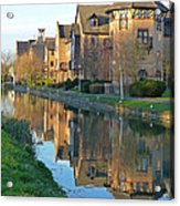 Riverside Home Reflections Vertical Acrylic Print by Gill Billington