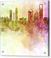 Riyadh Skyline In Watercolour Background  Acrylic Print