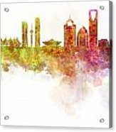 Riyadh Skyline In Watercolour On White Background Acrylic Print