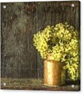 Rmonet Style Digital Painting Etro Style Still Life Of Dried Flowers In Vase Against Worn Woo Acrylic Print