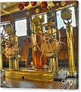 Rms Queen Mary Bridge Well-polished Brass Annunciator Controls And Steering Wheels Acrylic Print