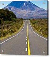 Road Leading To Active Volcanoe Mt Ngauruhoe In Nz Acrylic Print