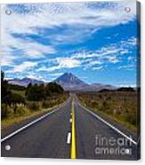 Road Leading To Active Volcanoe Mt Ngauruhoe Nz Acrylic Print