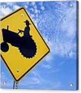 Road Sign Tractor Crossing Acrylic Print