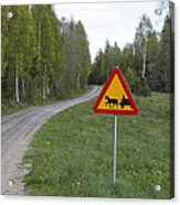 Road Sign With Carriage Acrylic Print by Ulrich Kunst And Bettina Scheidulin