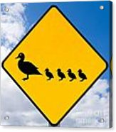 Roadsign Warning Ducks With Ducklings Crossing Acrylic Print