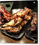 Roast Chicken And Meat Platters - 5d20687 Acrylic Print by Wingsdomain Art and Photography
