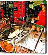 Roasting A Suckling Pig Streetside In Saigon-vietnam  Acrylic Print