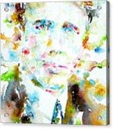 Robert Frost . Watercolor Portrait Acrylic Print