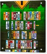 Robert Frost The Road Not Taken Poem Recycled License Plate Lettering Art Acrylic Print