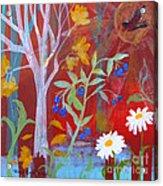 Robin's Blueberry Daisy Sunshiny Day Acrylic Print