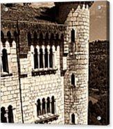 Rocamadour Stone Tower Vertical Panorama Sepia Acrylic Print