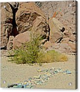 Rock Arrow And Terry Directing Into Ladder Canyon From Big Painted Canyon Trail In Mecca Hills-ca  Acrylic Print