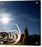 Rock Cairn With Light Painting Next Acrylic Print