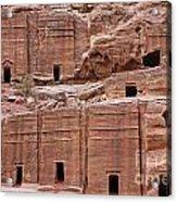 Rock Cut Tombs On The Street Of Facades In Petra Jordan Acrylic Print