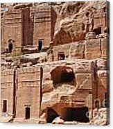 Rock Cut Tombs On The Street Of Facades Petra Jordan Acrylic Print
