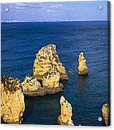 Rock Formations In The Sea, Algarve Acrylic Print