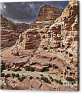 rock landscape with simple tombs in Petra Acrylic Print