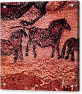 Rock Painting Of Tarpans Ponies, C.17000 Bc Cave Painting Acrylic Print