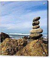 Rock Sculpture At The Beach Acrylic Print