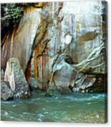 Rock Wall And River Acrylic Print