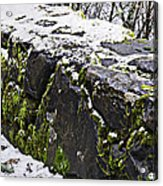 Rock Wall With Moss And A Dusting Of Snow Art Prints Acrylic Print
