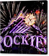 Rockies And Fireworks Acrylic Print by Bob Hislop