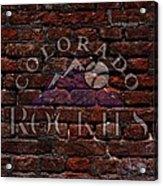 Rockies Baseball Graffiti On Brick  Acrylic Print by Movie Poster Prints