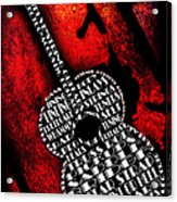 Rockin Guitar In Red Typography Acrylic Print