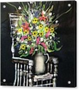 Rocking Chair With Flowers Acrylic Print by Kendra Sorum