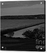 Rockland Breakwater Lighthouse  - Black And White Acrylic Print
