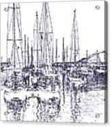 Rockport Sailboats - Photo Shetch Acrylic Print
