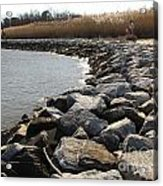 Rocks Along The Shore At Sandy Point Acrylic Print