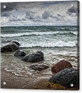 Rocks And Waves At Wilderness Park In Sturgeon Bay Acrylic Print