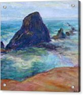 Rocks Heading North - Scenic Landscape Seascape Painting Acrylic Print