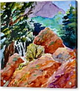 Rocks Near Red Feather Acrylic Print