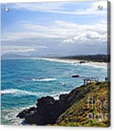 Rocks Ocean Surf And Sun Acrylic Print