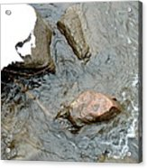 Rocks Snow And Water Acrylic Print