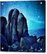 Rocky Cliff In Starlight Acrylic Print