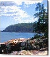 Rocky Coast .  Impressionistic  Acrylic Print by Ann Powell