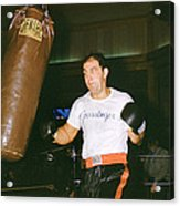 Rocky Marciano Working Heavy Bag Acrylic Print by Retro Images Archive