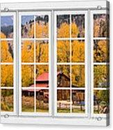 Rocky Mountain Autumn Ranch White Window View Acrylic Print